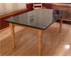 Granite Dining Room Table with Custom Wood Base