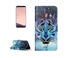 For Galaxy S 8 Wolf Pattern Leather Case with Holder, Card Slots
