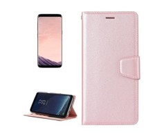 For Galaxy S 8 Rose Gold Silk Leather Case with Holder, Card Slots