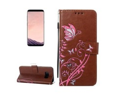 For Galaxy S 8 Brown Voltage Leather Case with Holder, Card Slots