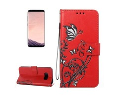 For Galaxy S 8 Red Voltage Leather Case with Holder, Card Slots