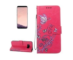 For Galaxy S 8 Magenta Voltage Leather Case with Holder, Card Slots