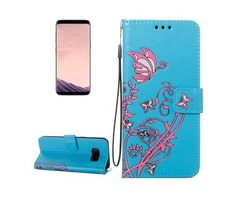 For Galaxy S 8 Blue Voltage Leather Case with Holder, Card Slots