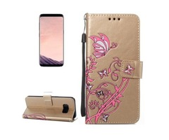 For Galaxy S 8 Gold Voltage Leather Case with Holder, Card Slots