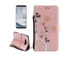 For Galaxy S 8 Rose Gold Butterfly Leather Case with Holder