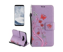 For Galaxy S 8 Purple Butterfly Leather Case with Holder, Card Slots