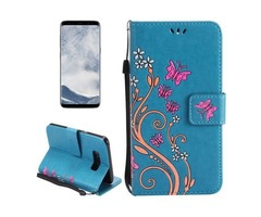 For Galaxy S 8 Blue Butterfly Leather Case with Holder, Card Slots