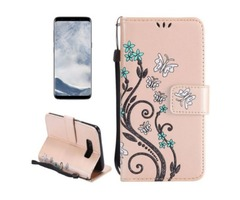 For Galaxy S 8 Gold Butterfly Leather Case with Holder, Card Slots