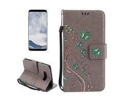 For Galaxy S 8 Grey Butterfly Leather Case with Holder, Card Slots