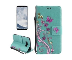 For Galaxy S 8 Green Butterfly Leather Case with Holder, Card Slots
