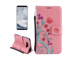 For Galaxy S 8 Pink Butterfly Leather Case with Holder, Card Slots