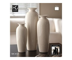 Hosley Set of 3 Crackle Ivory Ceramic Vases in Gift Box