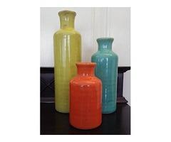 Sullivans 5-10″ Set of 3 Decorative Crackled Vases
