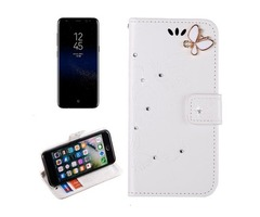 For Galaxy S 8 + White Butterfly Diamond Encrusted Leather Case