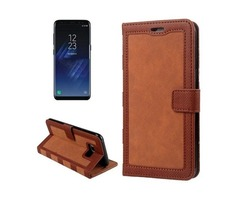 For Galaxy S 8 + Brown Retro Denim Leather Case with Holder, Card Slots