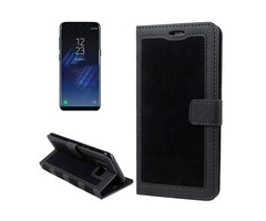 For Galaxy S 8 + Black Retro Denim Leather Case with Holder, Card Slots | free-classifieds-usa.com