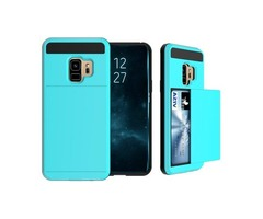 For Galaxy S9 Azure Detachable Drop proof Back Cover Case with Slider Card Slot