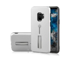 For Galaxy S9 Silver Frosted TPU + PC Protective Back Cover Case with Holder