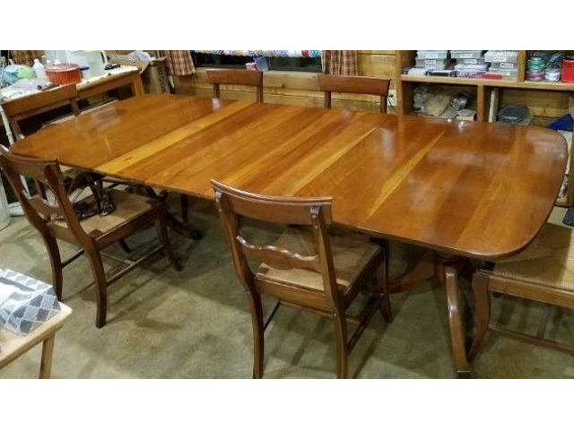 1956 Maple Dining Table & 6 Rush Weave Chairs - Home ...