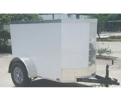4x6 ft. White Exterior Band Equipment Trailer with No Side and V Front