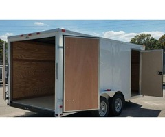 New 7ft x 16 ENCLOSED TRAILER White EXT. Color w/Additional 3 in Height