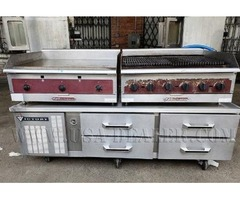 SOUTHBEND STOVE/GRILL AND VICTORY REFRIGERATOR
