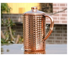 Shop for Hand Beaten Pure Copper Jug with Lid