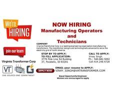 Manufacturing Operators & Technicians