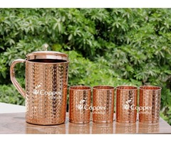 Shop for Hammered Pure Copper Pitcher and Four Tumblers Set at Best Prices