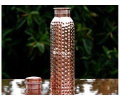 Shop for Copper Water Bottle Hammered for Kids 600 ml