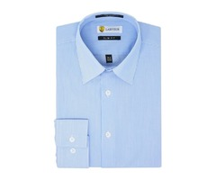 Buy Labiyeur White and Blue Striped Dress Shirt Online