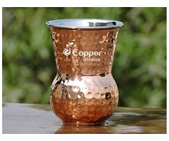 Shop for Mughlai Style Hammered Copper and Steel Tumbler