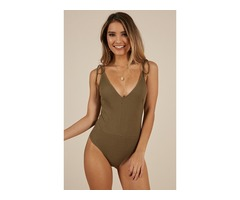 Buy The Time Bodysuit In Khaki
