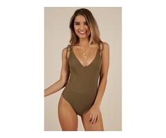 Buy The Time Bodysuit In Khaki