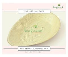 Tear Drop Shaped Palm Leaf Dinnerware