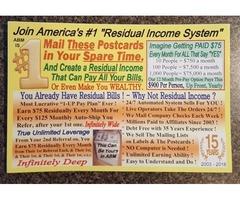 Residual income mailing postcards!