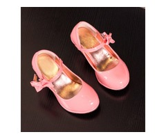 Fashion Bowknot Girls High Heels Princess Stage Shoes