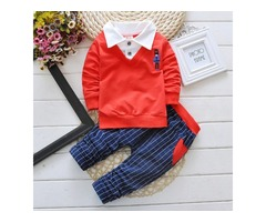 Boys Plaid Spring Autumn Two Pieces Sets