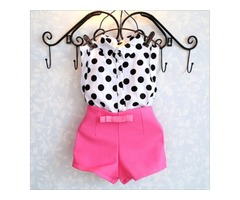 Fashion Polka Dot High Waist Shorts Outfits