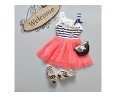 Girls Lace Stripe Dress