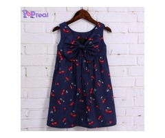 Cherry Prints Bowknot Girls Sleeveless Cami Dress