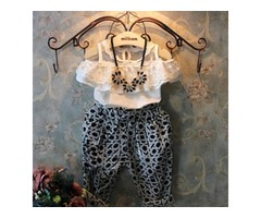 Girl Lace Bare-Shouldered Shirt High-Waist Harem Pants