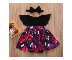 Baby Floral Print Dress With Headband