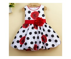 Rose Patterns Polka Dots Baby Girls Summer Dress
