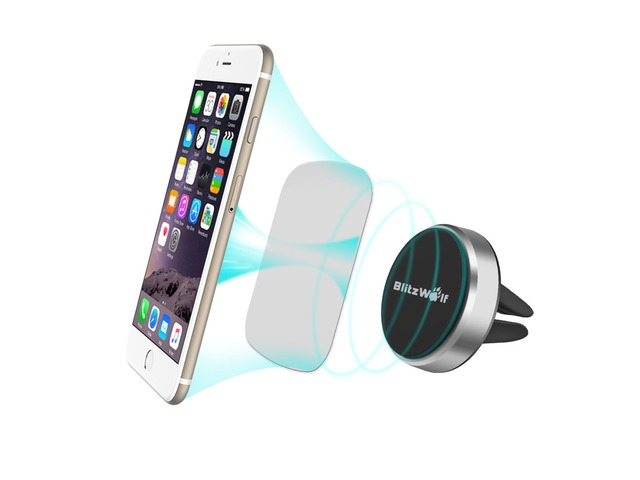 BlitzWolf® BW-MH3 Stainless Steel Reinforced Magnetic Car Air Vent Universal Phone Holder | free-classifieds-usa.com