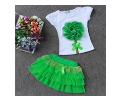 Tridimensional Flower Shirts And Pleated Skirt Sets