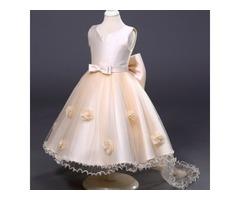 Noble Flowers Embellished Girls Princess Trailing Dress