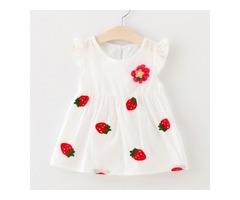 Strawberry Pattern Fly Sleeve Dress