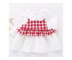 Plaid Doll Collar Ruffle Hem Dress Set