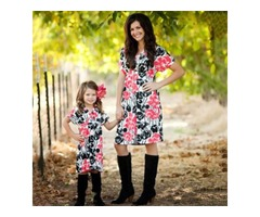 Mom Girl Flower Prints Matching Dress